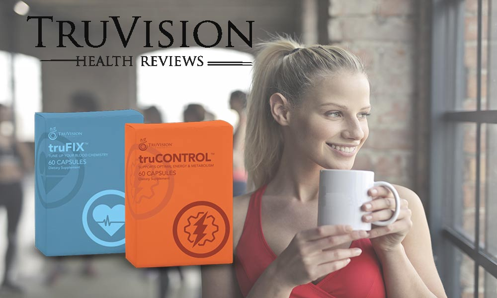 A white girl drinking and Truvision Product