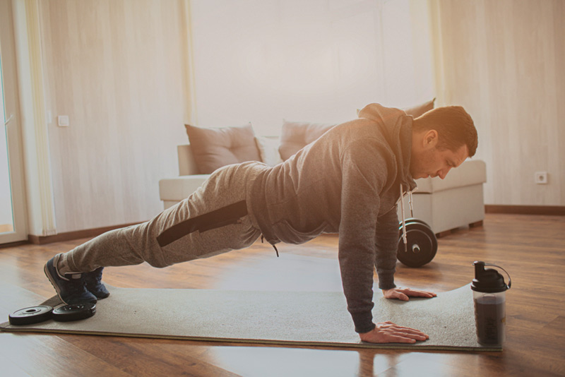 A man is doing Push ups